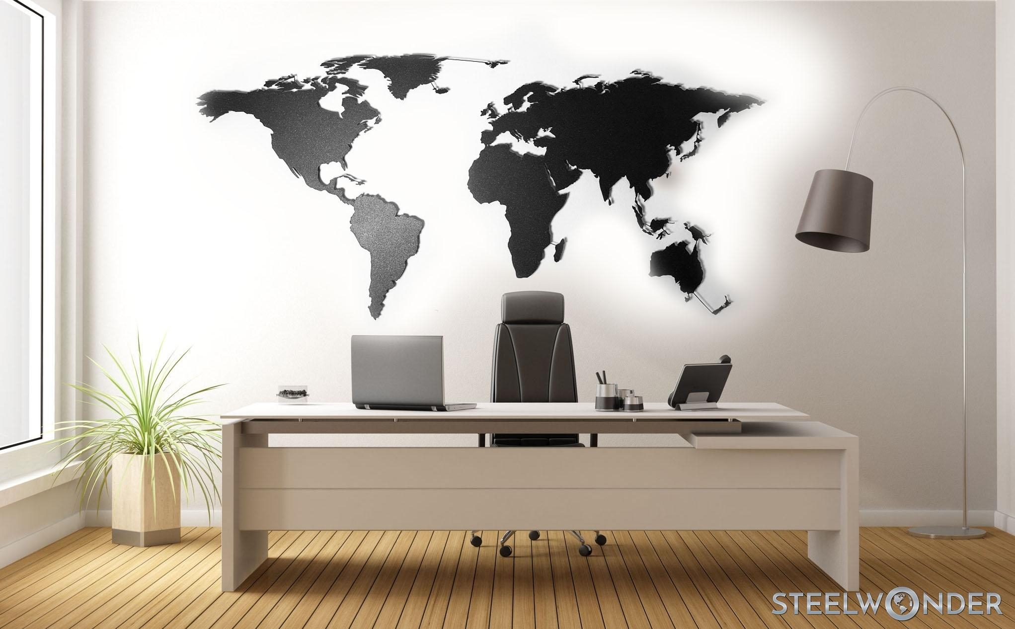 39086273 - minimalist office with desk and world map on wall - 3d rendering